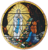 Stained glass window of St Bernadette